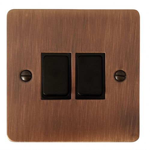 G&H FAC2B Flat Plate Antique Copper 2 Gang 1 or 2 Way Rocker Light Switch